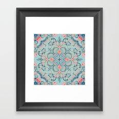 Gypsy Floral in Red & Blue Framed Art Print