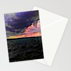 Pink Sky with Lavender Clouds and the Dark Sea Stationery Cards
