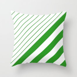 Green And White Stripes Pattern Throw Pillow