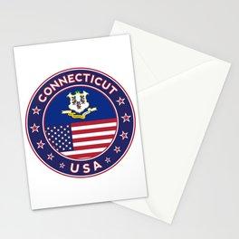 Connecticut, Connecticut t-shirt, Connecticut sticker, circle, Connecticut flag, white bg Stationery Cards