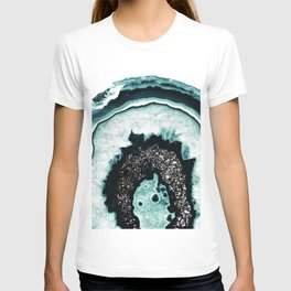 Icy Blue Agate with Black Glitter #1 #gem #decor #art #society6 T-shirt