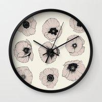poppy Wall Clocks featuring poppy by NOA ALON ART