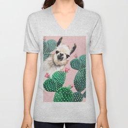 Llama and Cactus Pink Unisex V-Neck