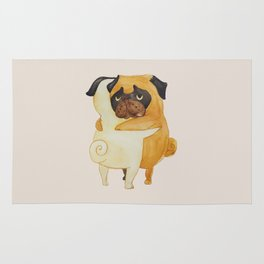 Pug Hugs Watercolor Rug