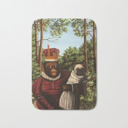 Monkey Queen with Pug Baby Bath Mat