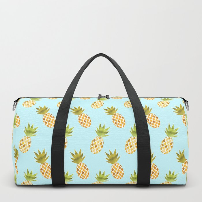 Blue Tropical Pineapple Pattern Duffle Bag
