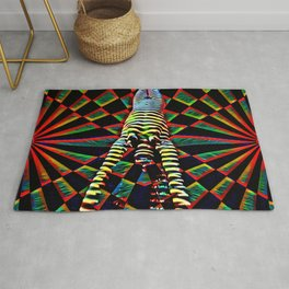 3693-DEW Yoga Handstand in Abstract Power Collage Rug