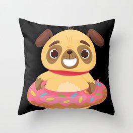 Baby Puppy In A Cute Donut Tutu Throw Pillow