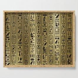 Black hieroglyphs pattern on Ancient Gold Serving Tray