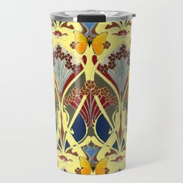 Decorative Yellow Art Nouveau Butterfly Maroon Designs Travel Mug