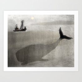 Whale and a boat Art Print