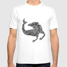 Hippocampus White Mens Fitted Tee SMALL