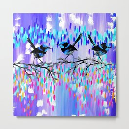 Purple fairy Wren Party Metal Print