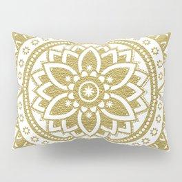 White & Gold Patterned Flower Mandala Pillow Sham
