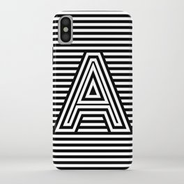 Track - Letter A - Black and White iPhone Case