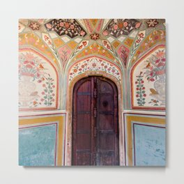Jaipur Palace Door with Decorative Floral Pattern Wall Metal Print