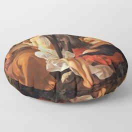Merisi da Caravaggio - Ruhe auf der Flucht nach Ägypten Floor Pillow