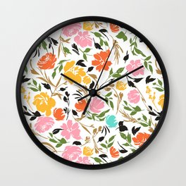 Flowered rose bushes Wall Clock