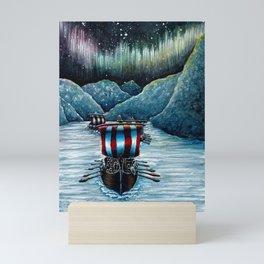 Drakkar in Norse Fjord Ft. Aurora Borealis Mini Art Print