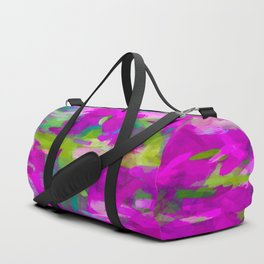 splash painting abstract texture in purple pink green Duffle Bag