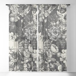 SKULLS HALLOWEEN SKULL Sheer Curtain