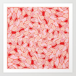 Modern Coral Pink Red Abstract Mosaic Geometric Art Print