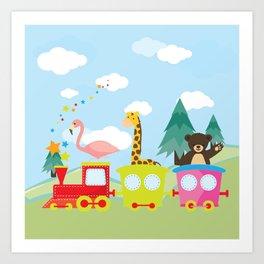 Animals Train , Nursery decor Art Print