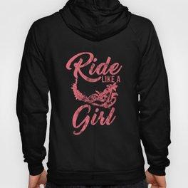 Ride Like A Girl Distressed Dirt Bike Rider Street Racing Extreme Sports Gift Hoody