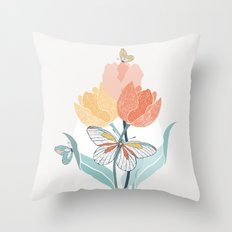 Butterflies and Tulips I Throw Pillow