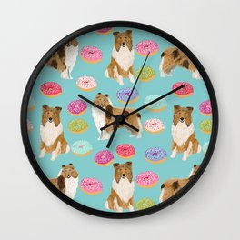 Rough Collie dog breed donut lover pet portrait custom design for dog lover by pet friendly Wall Clock