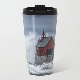 Grand Haven Lighthouse in a November Storm on Lake Michigan Travel Mug