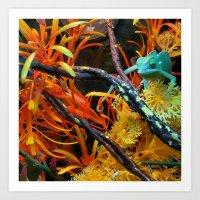 chameleon Art Prints featuring Chameleon by Geni
