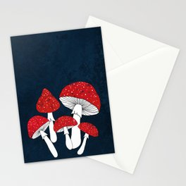 Red mushrooms field on navy blue Stationery Cards