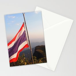 Thai flag on Mountain Stationery Cards
