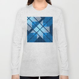 Abstract Geometric Blue Plaid Design Long Sleeve T-shirt