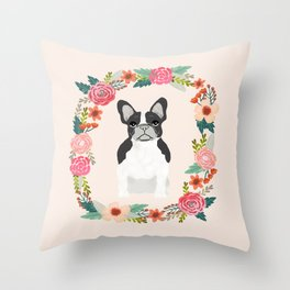 french bulldog black and white floral wreath flowers dog breed gifts corgis Throw Pillow