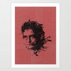 Johnny Cash botanical portrait Art Print