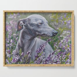 Italian Greyhound dog art from an original painting by L.A.Shepard Serving Tray