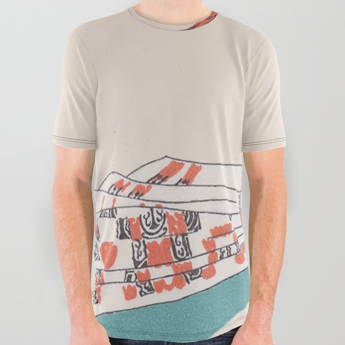 620afac3 Vintage Print Illustration Orange Cat Caught In Tapestry All Over Graphic  Tee