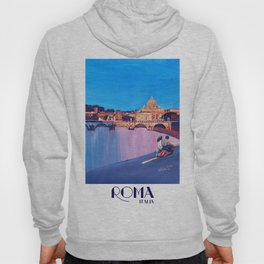 Rome Scene with Motorcycle and view of Vatican with Dome of St Peter Hoody