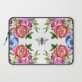 Honey Bee with Floral Watecolor Laptop Sleeve