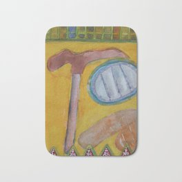 Still Life with Hammer on Yellow Bath Mat