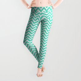 Aqua Blue Chevron Zig Zag Leggings