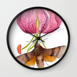 Martagon Lily and Moth Wall Clock
