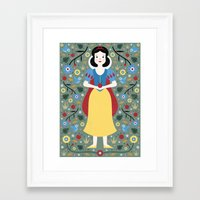 snow white Framed Art Prints featuring Snow White  by Carly Watts