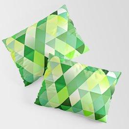 Lime Green Yellow White Diamond Triangles Mosaic Pattern Pillow Sham