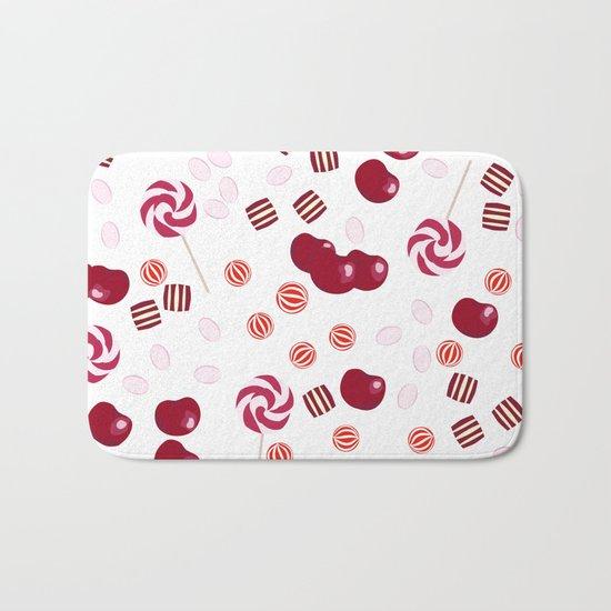 Candy lollipops of cherry Bath Mat