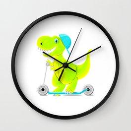 Dinosaur teen ride a scooter Wall Clock