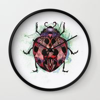 ladybug Wall Clocks featuring Ladybug by SilviaGancheva