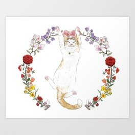 Fuku the Cat in Floral Wreath Art Print